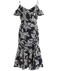 Cocktails Night Floral Printed Bodycon Dress in Black