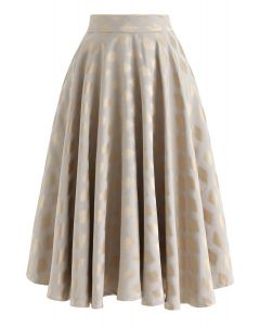 Diamond Printed Midi Skirt in Gold