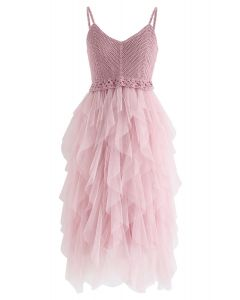 Knit Ruffled Mesh Cami Dress in Dusty Pink