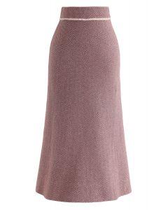 Slant Stripes Knit Midi Skirt in Rust Red