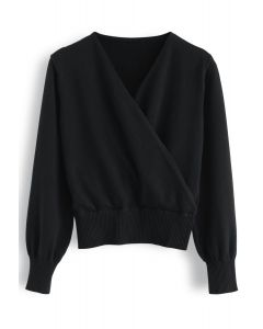 Basic Soft Wrapped Knit Top in Black