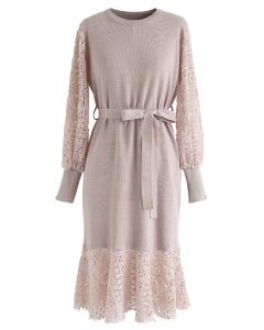Self-Tied Bowknot Crochet Knit Midi Dress in Pink