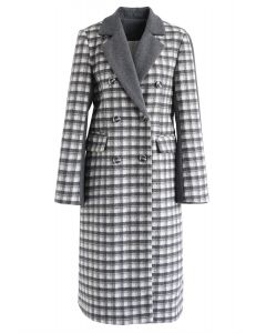 Plaid Spliced Buttoned Wool-Blended Longline Coat