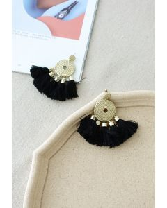 Gold Circle Boho Tassel Earrings