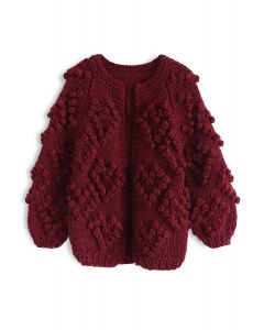 Knit Your Love Cardigan in Wine For Kids